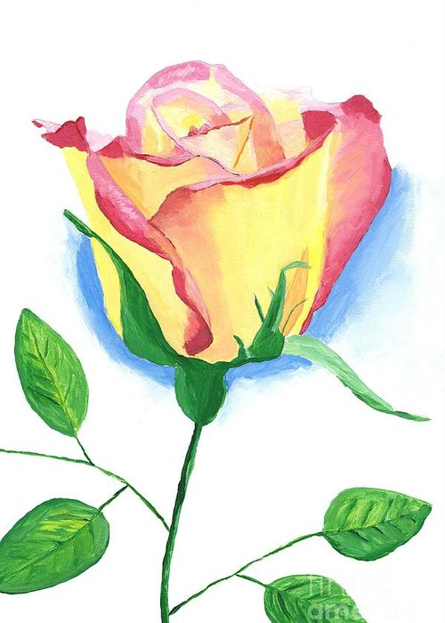 Rose Greeting Card featuring the painting A Single Rose by Rodney Campbell