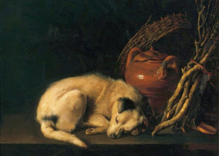 A Greeting Card featuring the painting A Sleeping Dog With Terracotta Pot 1650 by Dou Gerrit