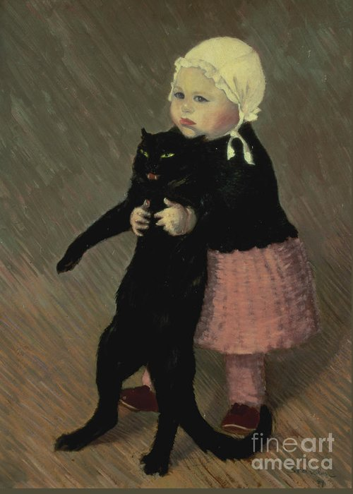 Pet Greeting Card featuring the painting A Small Girl With A Cat by TA Steinlen