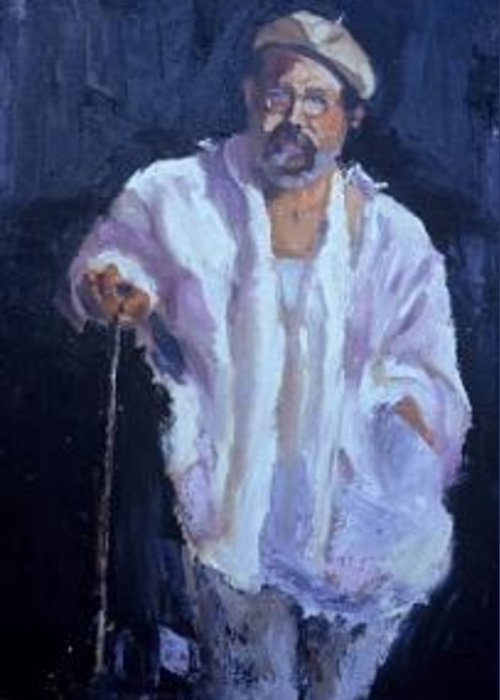 Professional Model Study Greeting Card featuring the painting A Smocked Man by Bryan Alexander