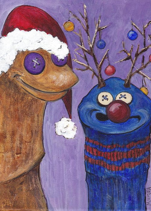Sock Puppet Greeting Card featuring the painting A Sock Puppet Christmas by Robin Wiesneth