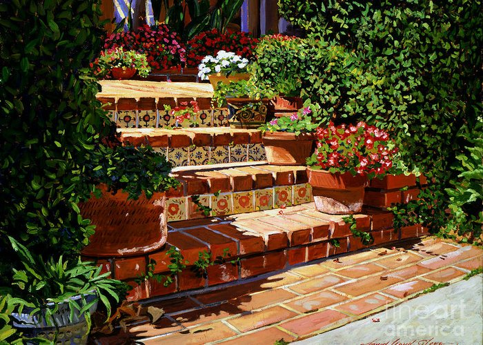 Patio Greeting Card featuring the painting A Spanish Garden by David Lloyd Glover
