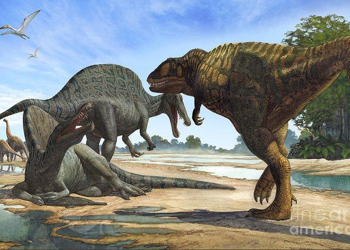 Horizontal Greeting Card featuring the digital art A Spinosaurus Blocks The Path by Sergey Krasovskiy