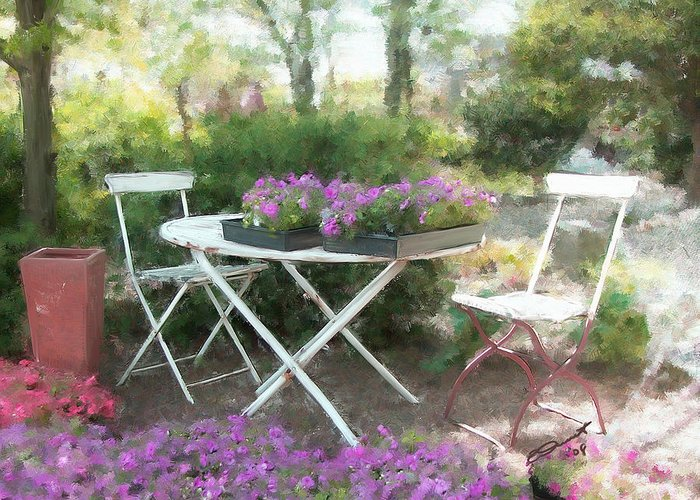 Country Rural Flower Summer Tea Painting Teatime Garden Shade Friends Sargent Oil Table Greeting Card featuring the painting A Spot For Tea by Eddie Durrett