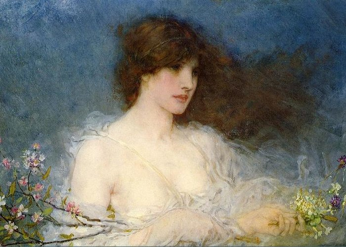 A Spring Idyll Greeting Card featuring the painting A Spring Idyll by George Henry Boughton