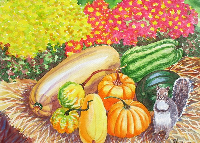 Watercolor Greeting Card featuring the painting A Squirrel And Pumpkins.2007 by Natalia Piacheva