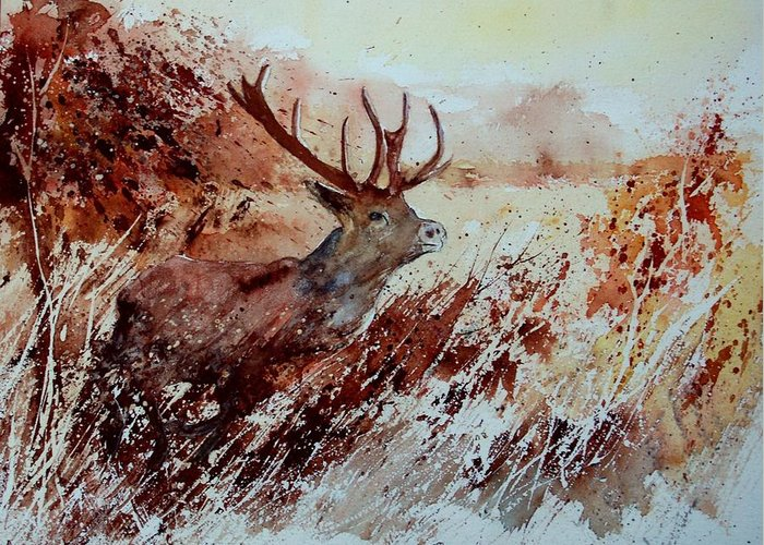 Animal Greeting Card featuring the painting A Stag by Pol Ledent