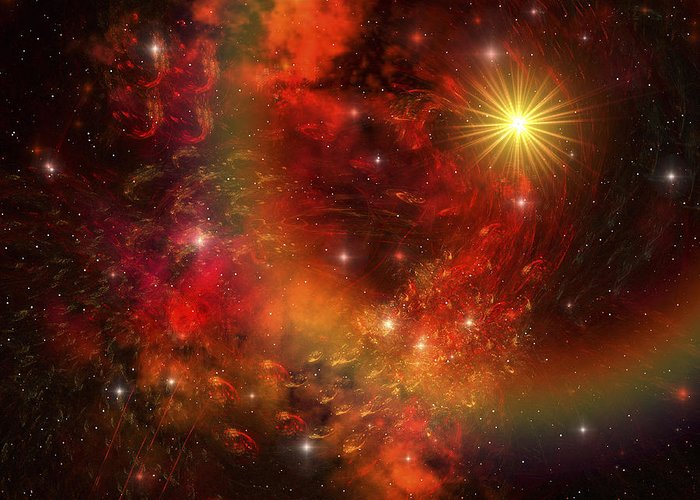 Supernova Greeting Card featuring the digital art A Star Explodes Sending Out Shock Waves by Corey Ford