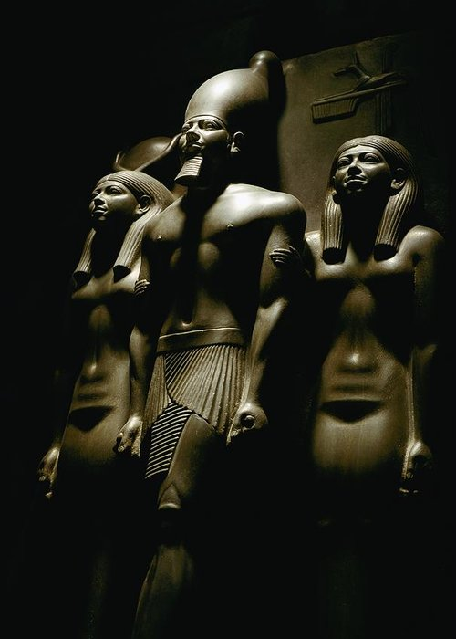 Dynasties Greeting Card featuring the photograph A Statue Of Pharoh Menkaura by Kenneth Garrett