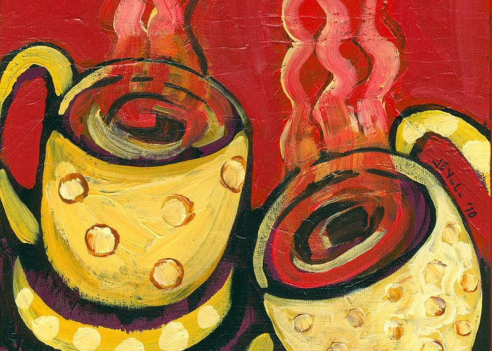 Coffee Greeting Card featuring the painting A Steaming Romance by Jennifer Lommers