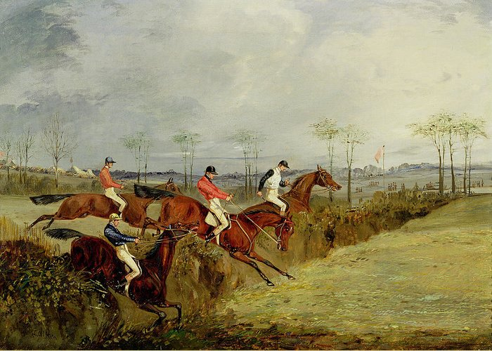 Steeplechase Greeting Card featuring the painting A Steeplechase - Taking A Hedge And Ditch by Henry Thomas Alken