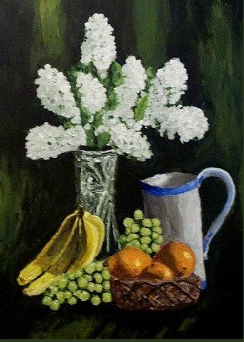 Fruits Greeting Card featuring the painting A Still Life Iv by Mats Eriksson