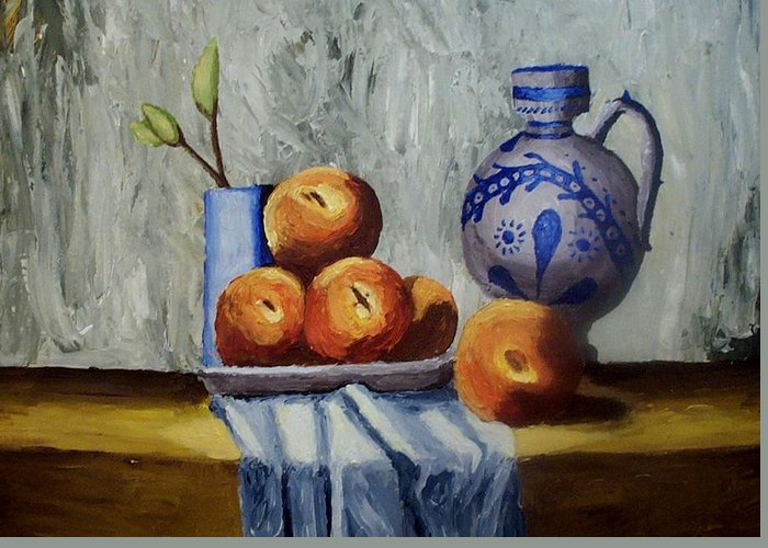 Still Life Greeting Card featuring the painting A Still Life by Mats Eriksson