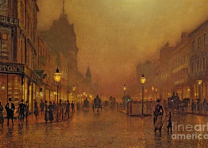 A Street At Night (oil On Panel) By John Atkinson Grimshaw (1836-93) Greeting Card featuring the painting A Street At Night by John Atkinson Grimshaw