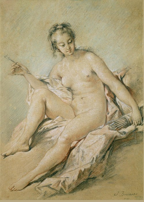 Study Greeting Card featuring the pastel A Study Of Venus by Francois Boucher