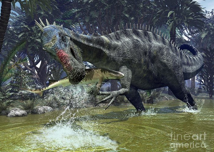 Nature Greeting Card featuring the digital art A Suchomimus Snags A Shark From A Lush by Walter Myers