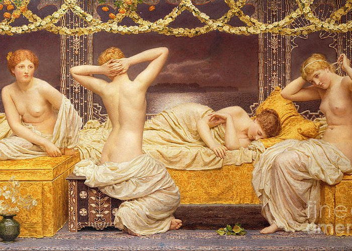 Female; Woman; Nude; See; Classical; A Summer Night Greeting Card featuring the painting A Summer Night by Albert Joseph Moore