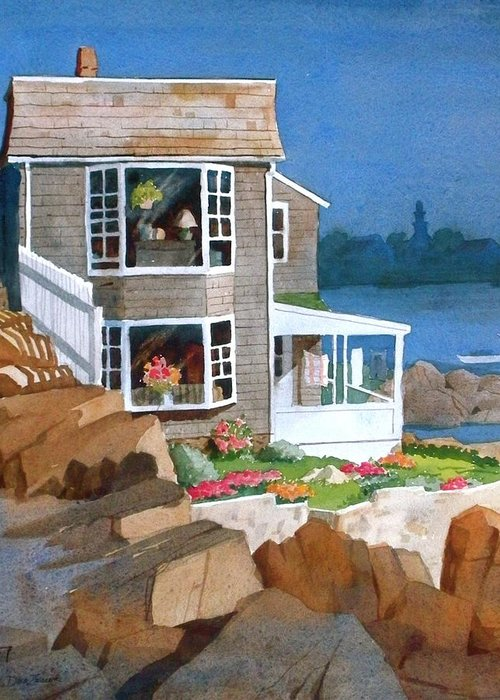 Waterfront Greeting Card featuring the painting A Summer Place by Faye Ziegler