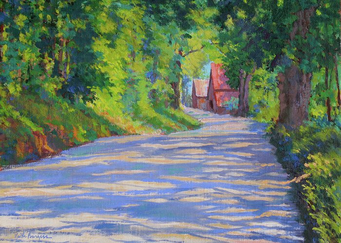 Landscape Greeting Card featuring the painting A Summer Road by Keith Burgess