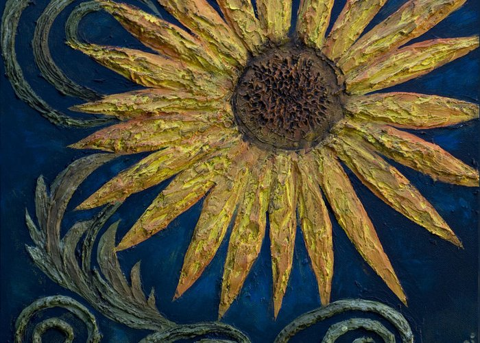 Sunflower Greeting Card featuring the painting A Sunflower by Kelly Jade King