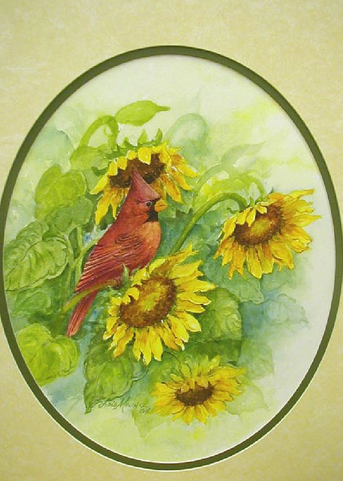 Birds;cardinal;sunflowers;garden; Greeting Card featuring the painting A Sunny Garden Spot by Lois Mountz