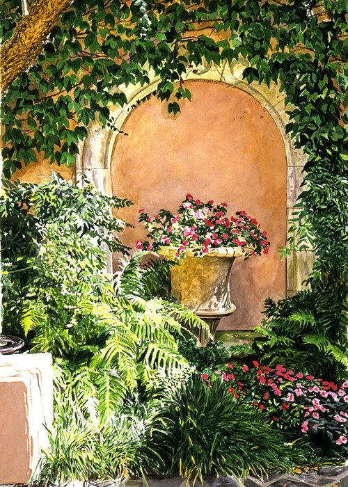 Flower Pots Greeting Card featuring the painting A Sunny Nook Hotel Bel - Air by David Lloyd Glover
