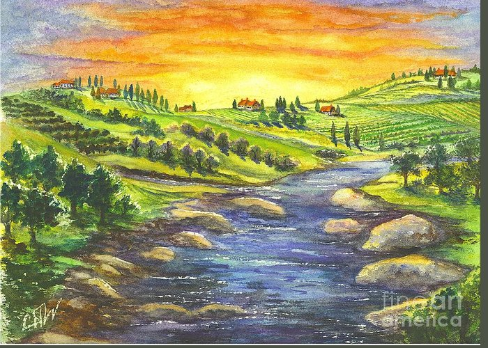 California Greeting Card featuring the painting A Sunset In Wine Country by Carol Wisniewski