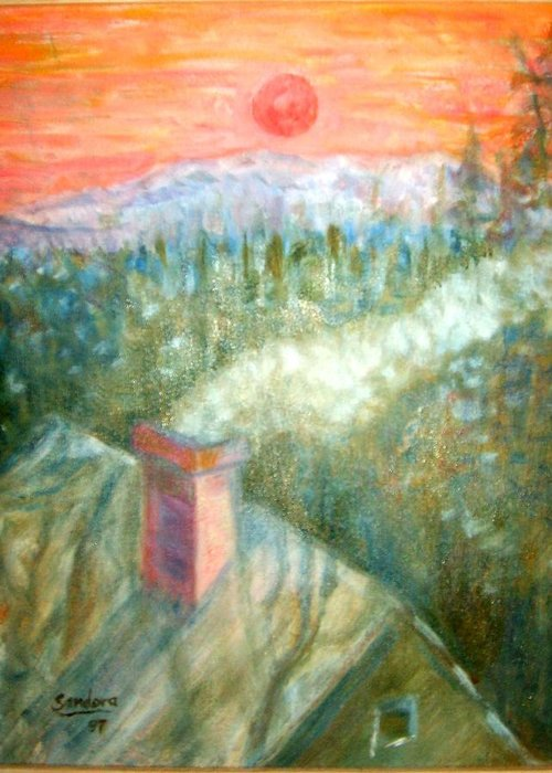 Rooftop Lanscape Greeting Card featuring the painting A Sunset by Joseph Sandora Jr