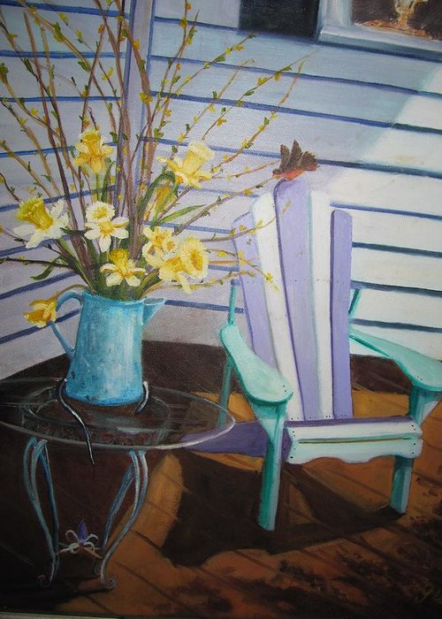 Porch Greeting Card featuring the painting A Surpise Visitor by Gloria Condon