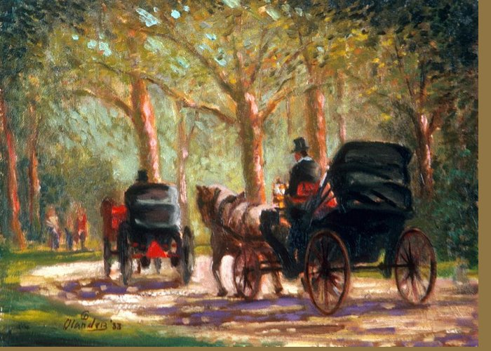 Cityscape Greeting Card featuring the painting A Surrey Ride In Central Park by David Olander