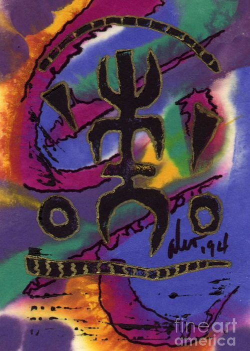 Abstract Greeting Card featuring the mixed media A Symbol Of Life by Angela L Walker