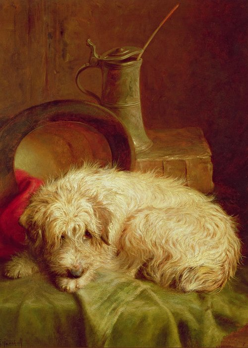 Terrier Greeting Card featuring the painting A Terrier by John Fitz Marshall