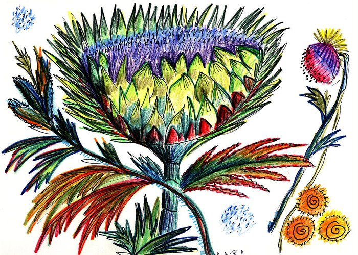 Flowers Greeting Card featuring the painting A Thistle by Julie Richman