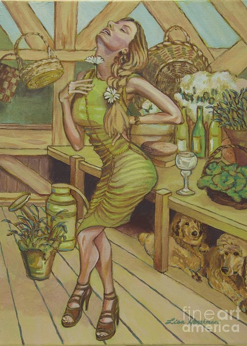 Garden Diva Greeting Card featuring the painting A Touch Of Daisy by Lisa Hershman