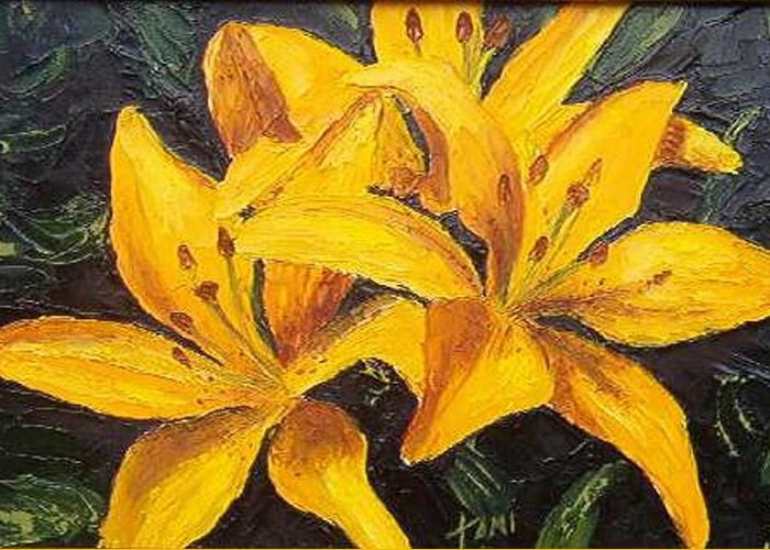 Greeting Card featuring the painting A touch of Gold by Tami Booher