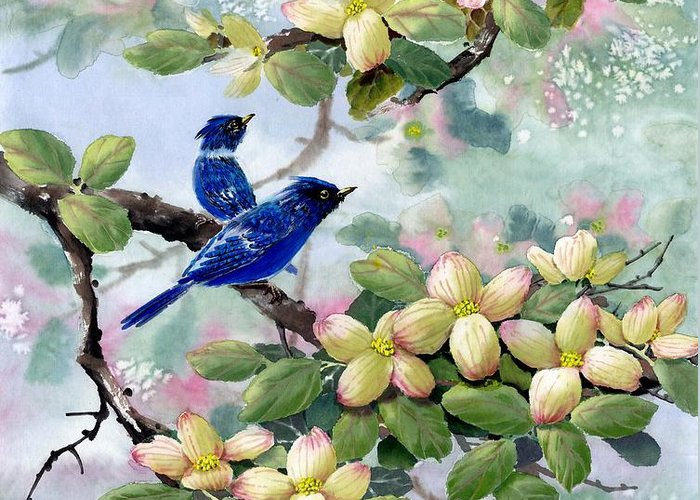 Blue Jays Greeting Card featuring the painting A Touch Of Pink On White by Eileen Fong