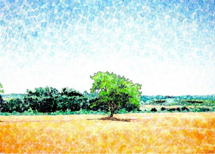 Italy Greeting Card featuring the drawing A Tree Near Siena by Jason Charles Allen