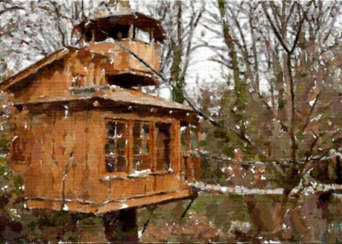 Treehouse Greeting Card featuring the painting A Treehouse For All Seasons by Mario Carini