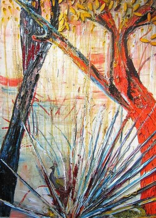 Trees Greeting Card featuring the painting A Tribute by Peggy Blood