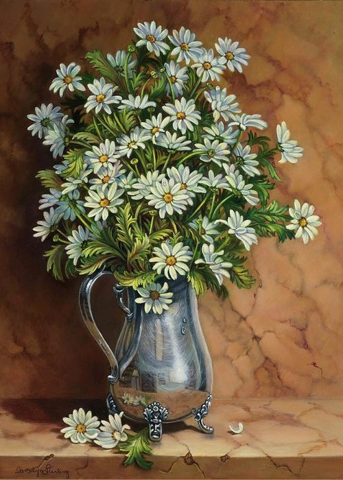 Daisies Greeting Card featuring the painting A Tribute To Lupetti by Carolyn Sterling