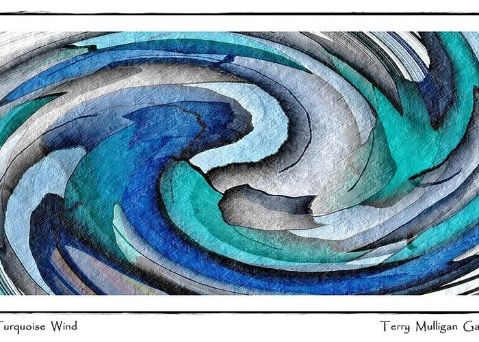 Abstract Greeting Card featuring the digital art A Turquoise Wind by Terry Mulligan