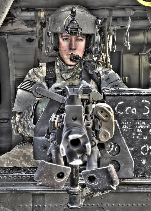 Aviation Greeting Card featuring the photograph A Uh-60 Black Hawk Door Gunner Manning by Terry Moore