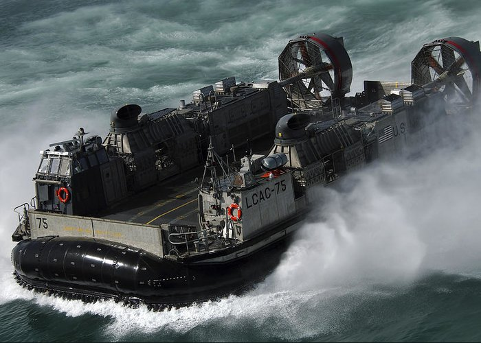 Operation Iraqi Freedom Greeting Card featuring the photograph A U.s. Navy Landing Craft Air Cushion by Stocktrek Images