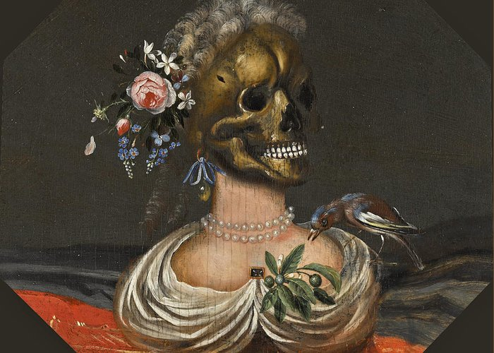 Catharina Ykens Greeting Card featuring the painting A Vanitas Bust Of A Lady With A Crown Of Flowers On A Ledge by Catharina Ykens