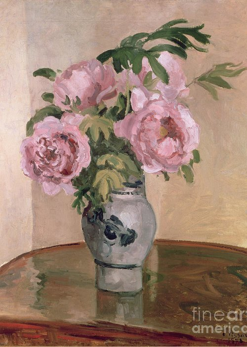 A Vase Of Peonies Greeting Card featuring the painting A Vase Of Peonies by Camille Pissarro