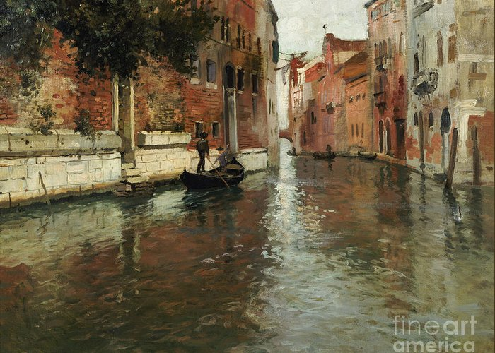 Venice Greeting Card featuring the painting A Venetian Backwater by Fritz Thaulow