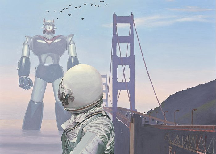 Astronaut Greeting Card featuring the painting A Very Large Robot by Scott Listfield