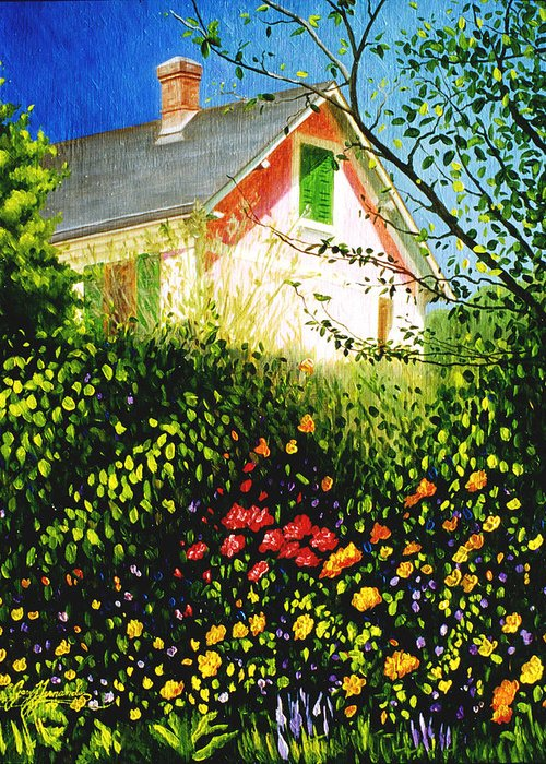 Monets House Greeting Card featuring the painting A View Of Monets House In Giverny France by Gary Hernandez