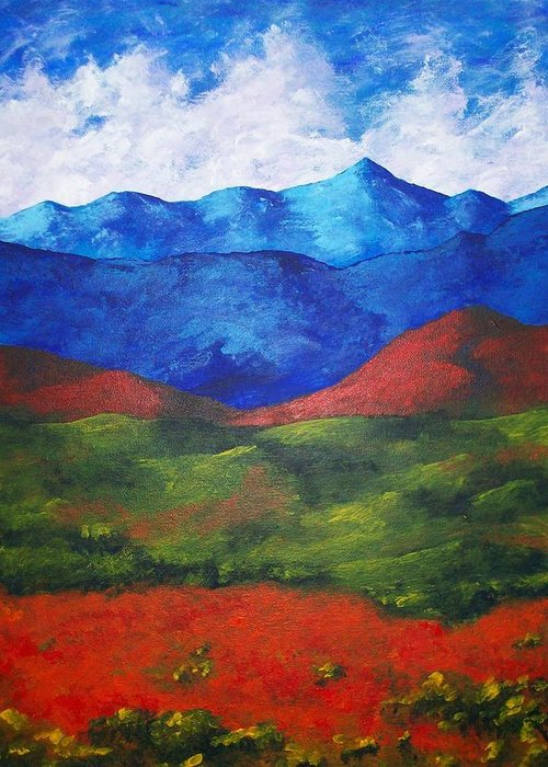 Art & Collectibles Painting Acrylic White Blue Green Red Pink Yellow Orange Art Adirondack Mountains Upstate New York State Park Ny Landscape Colorful Bright Sky Nature Art Autumn Fall Wilderness Greeting Card featuring the painting A View Of The Blue Mountains Of The Adirondacks by Mike Kraus