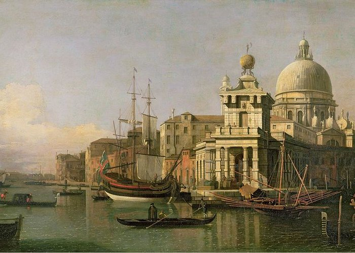 A View Of The Dogana And Santa Maria Della Salute Greeting Card featuring the painting A View Of The Dogana And Santa Maria Della Salute by Antonio Canaletto